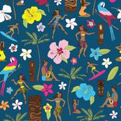Retro Hawaii Tiki - Teal