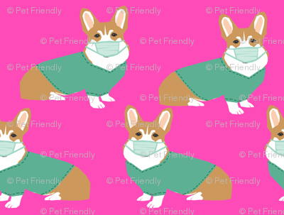 corgi in scrubs fabric operating room dog fabric dog fabric - fuschia