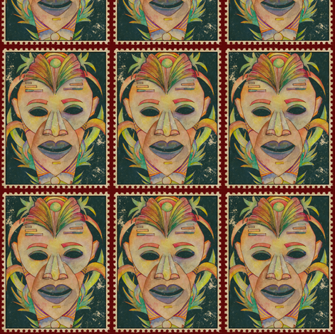 VINTAGE SERIOUS TIKI POSTAGE STAMP ON SAP GREEN BURGUNDY fabric by paysmage on Spoonflower - custom fabric