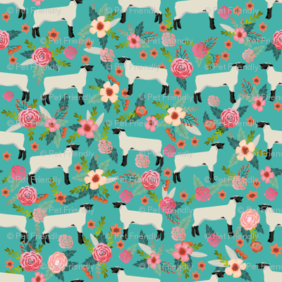 Show Lamb Floral Fabric Suffolk Sheep Floral Design Cute