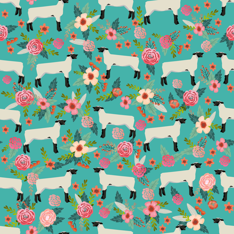 Show lamb floral fabric suffolk sheep floral design cute for Cute baby fabric prints