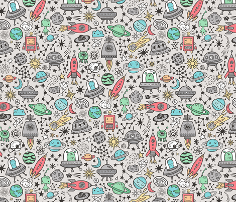 Space Galaxy Universe Doodle with Aliens, Rockets, Planets, Robots & Stars on  Grey fabric by caja_design on Spoonflower - custom fabric