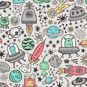 Space Galaxy Universe Doodle with Aliens, Rockets, Planets, Robots & Stars on  Grey