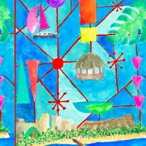 Mid-Century Waikiki Beach Watercolor Mosaic