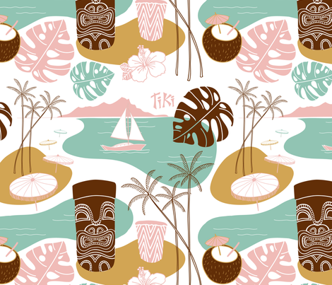 Mid Century Modern Tiki Time fabric by heather_anderson on Spoonflower - custom fabric