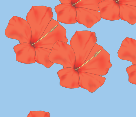 Orange Hibiscus on Sky Blue fabric by kathleenbruceillustration on Spoonflower - custom fabric