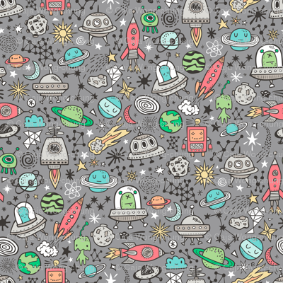 Space Galaxy Universe Doodle with Aliens, Rockets, Planets, Robots & Stars on  Dark Grey