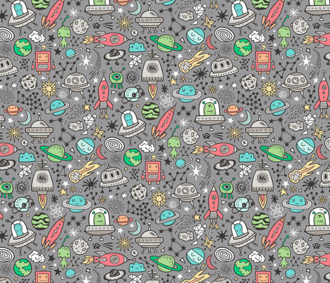 Space Galaxy Universe Doodle with Aliens, Rockets, Planets, Robots & Stars on  Dark Grey fabric by caja_design on Spoonflower - custom fabric