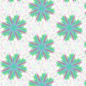 Loopy Fantasy Flowers on Pastel Speckles