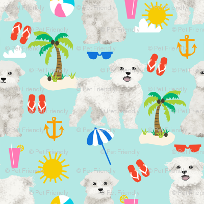 maltese fabric dog summer tropical palm trees - blue tint