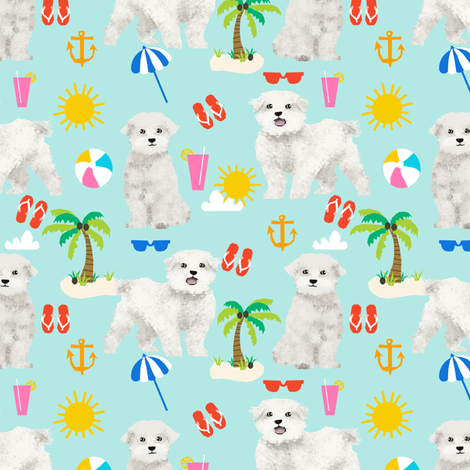 maltese fabric dog summer tropical palm trees - blue tint fabric by petfriendly on Spoonflower - custom fabric