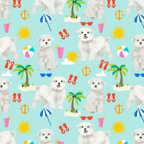 maltese fabric dog summer tropical palm trees - blue tint
