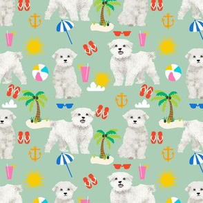maltese fabric dog summer tropical palm trees - mint