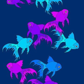 Goldfish Blues And Purples On Blue
