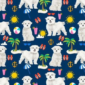 maltese fabric dog summer tropical palm trees - navy