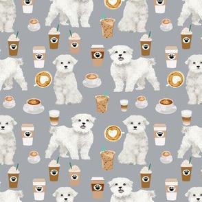 maltese fabric coffees latte dog design dogs fabric - grey