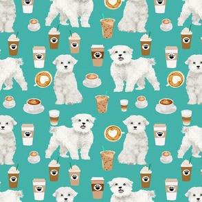 maltese fabric coffees latte dog design dogs fabric - turquoise