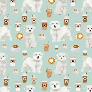 maltese fabric coffees latte dog design dogs fabric - light