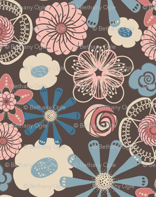 Large Floral in Peach, Blue, Brown by Amborela