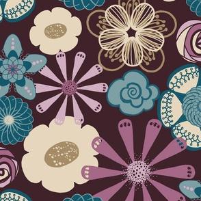 Large Flower Print in Plum Purple, Teal by Amborela