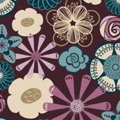 Large Flower Print in Plum Purple, Teal