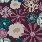 Large Flowers in Plum and Teal