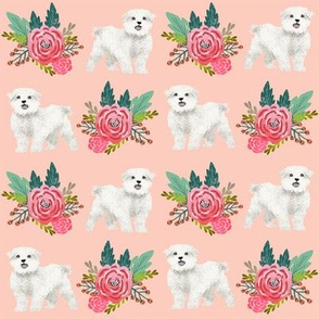 maltese floral fabric dogs and flowers design - pink