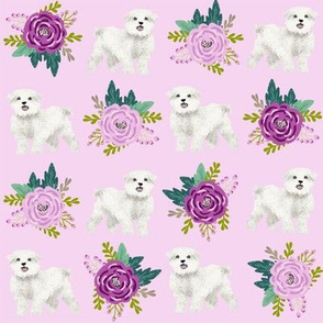 maltese floral fabric dogs and flowers design - light purple