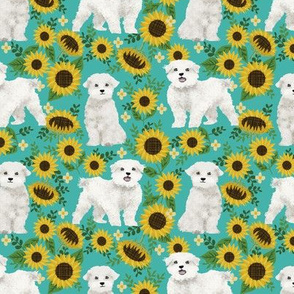 maltese sunflower design cute floral summer design maltese fabrics - turquoise