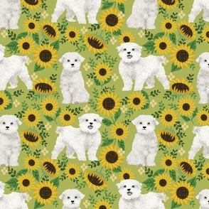 maltese sunflower design cute floral summer design maltese fabrics - green