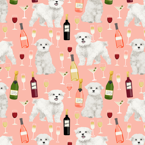 maltese wine fabric martini rose drinks fabric - peach fabric by petfriendly on Spoonflower - custom fabric