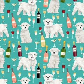 maltese wine fabric martini rose drinks fabric - turquoise