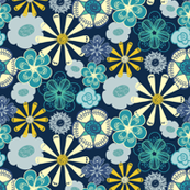 Large Scale Floral Ocean Blue and Yellow