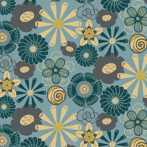 Large Flower Print in Teal Blue, Gray, Yellow by Amborela