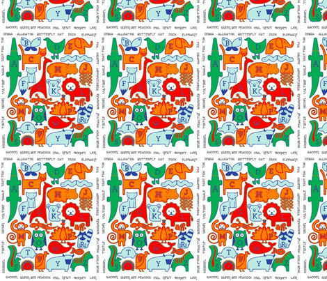 Animal Alphabet fabric by floramoon_designs on Spoonflower - custom fabric