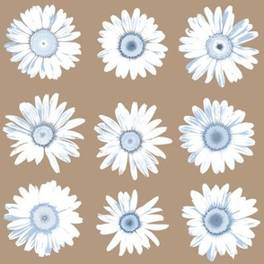 pale blue daisy dots on mocha