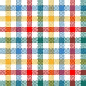 circus gingham - red, teal, blue, yellow