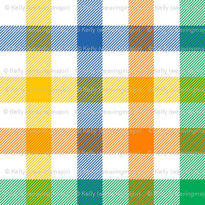 circus gingham - blue, green, yellow, orange