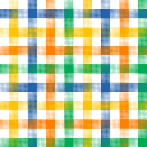circus gingham - blue, green, yellow, orange fabric by weavingmajor on Spoonflower - custom fabric