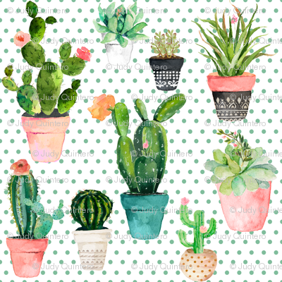 "2"" Cactus Obsession / Green Polka"