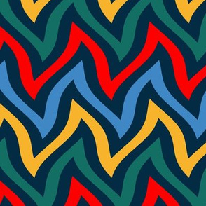 zigzag wave - navy brights