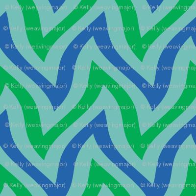 zigzag wave - aqua, blue, green