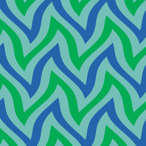 zigzag wave - aqua, blue, green fabric by weavingmajor on Spoonflower - custom fabric