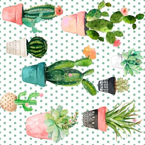 """10.5"""" Cactus Obsession / Green Polka Dots / 90 Degrees"""