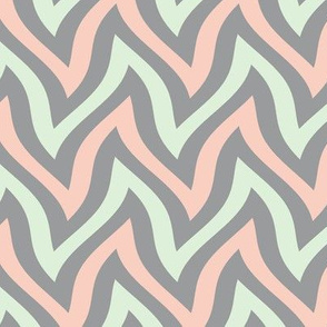 zigzag wave - grey, cucumber, peach
