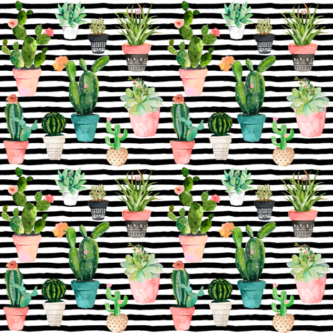 "4"" Cactus Obsession / Black & White Stripes fabric by shopcabin on Spoonflower - custom fabric"