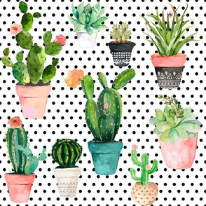 "10.5"" Cactus Obsession /Black & White / Polka Dots"
