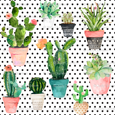 "8"" Cactus Obsession /Black & White / Polka Dots"