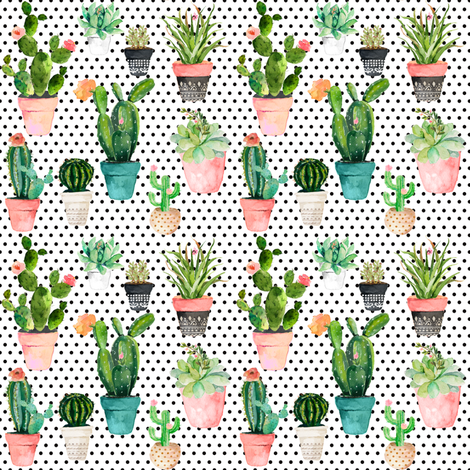 "4"" Cactus Obsession /Black & White / Polka Dots fabric by shopcabin on Spoonflower - custom fabric"