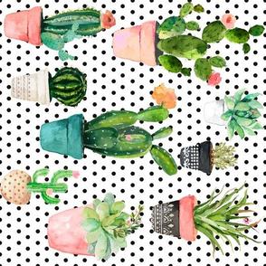 "10.5"" Cactus Obsession /Black & White / Polka Dots / 90 degrees"